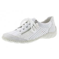 M37G6-80 White Flat Lace Up Trainer Style Shoe With Side Zip