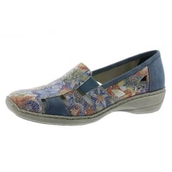 Multi-coloured floral flat slip on shoe