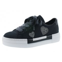 N4908-14 Navy Flat Lace Up Trainer With Diamante Detail