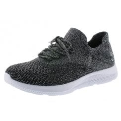 N9963-45 Grey Textile Flat Trainer Style Slip On Shoe