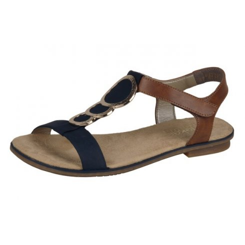 Rieker Navy blue and tan leather flat