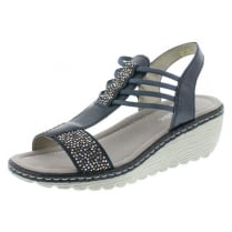 Navy blue wedge elasticated pull on sandal