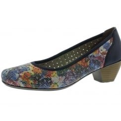Navy/multi leather heeled court shoe