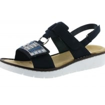 Navy suede leather flat sling back sandal