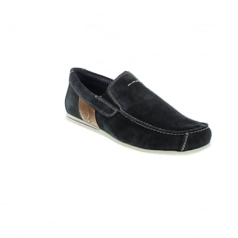 Rieker Navy suede leather flat slip on shoe