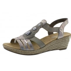 Pink/silver wedge sandal with sling back