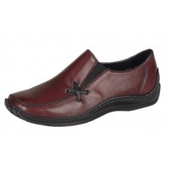 Red leather flat slip on shoe