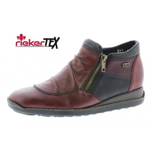 Rieker Red Leather Gortex Flat Ankle Boot With Two Side Zips