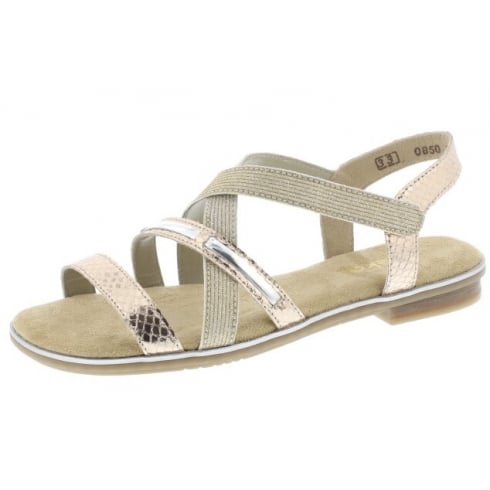 Rieker Rose gold flat sandal with velcro strap