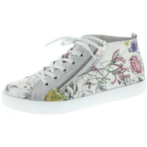 Rieker Silver/Floral flat lace up trainer style ankle boot with side zip