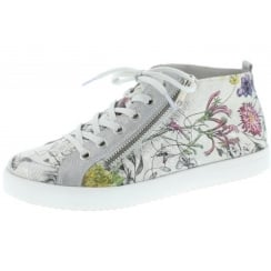 Silver/Floral flat lace up trainer style ankle boot with side zip