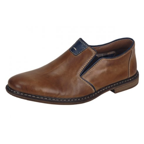 Rieker Tan leather flat slip on shoe