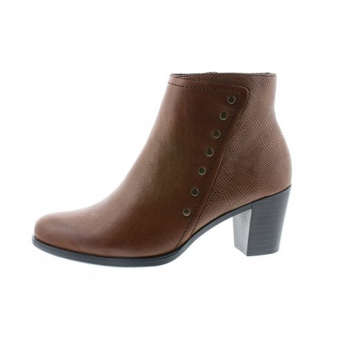 Rieker Tan Leather Heeled Ankle Boot With Side Zip