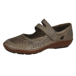 Taupe leather flat shoe with velcro strap