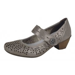 Taupe metallic leather heeled shoe with velcro strap