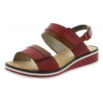 V36B9-33 Red Leather Wedge Velcro Fastening Sandal