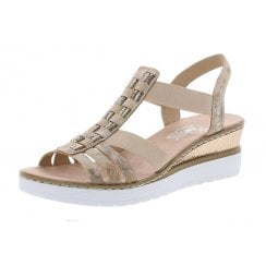 V3822-31 Rosa/Pink Platform Wedge Elasticated Pull On Sandal