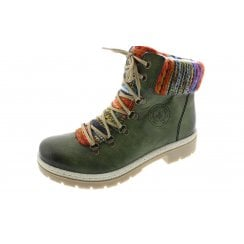 Y9432-52 Green combination lace up boot with side zip