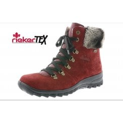 Z7130-35 Red gortex waterproof flat lace up ankle boot with side zip