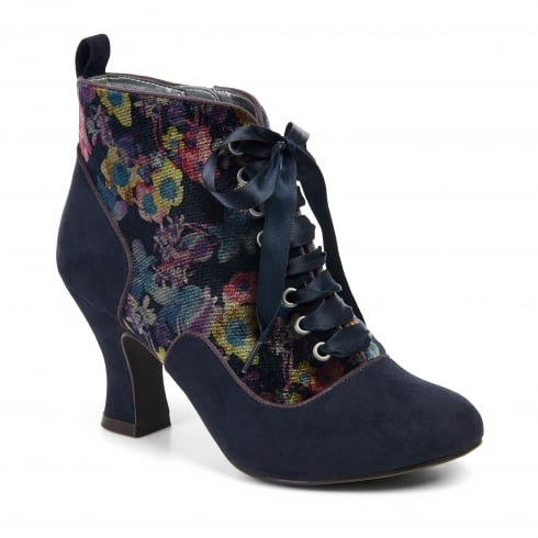 Ruby Shoo Bailey Navy Heeled Lace Up Ankle Boot