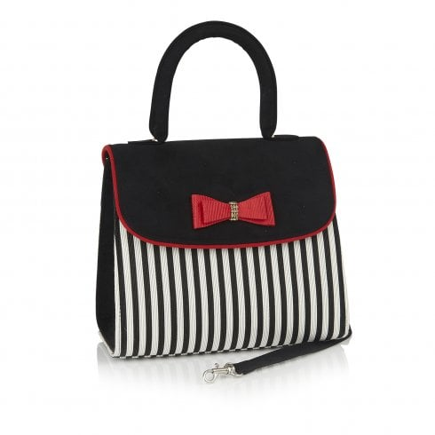 Ruby Shoo Banjul Black and Red Stripe Handbag