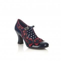 Camilla Navy Heeled Mary-Jane Style Shoe
