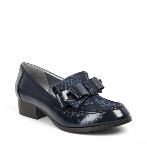 Ruby Shoo Gabriella Navy Heeled Loafer Style Shoe