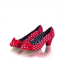 Hayley Red Polka Dot Heeled Court Shoe