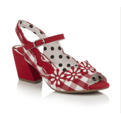 Hera Red Check Block Heeled Sandal