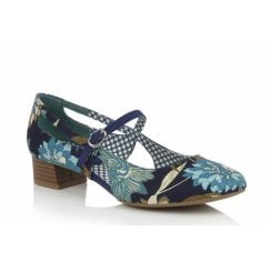 Iris Blue Floral Mary Jane Style Shoe