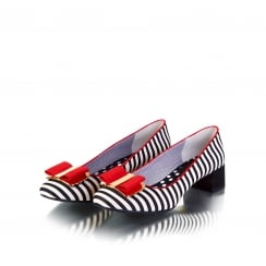 June Black and Red Striped Court Shoe