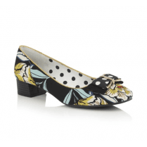 June Black Floral Flat Court Shoe