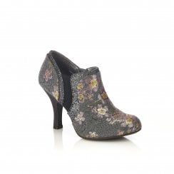 Juno Grey Floral Heeled Shoe-boot