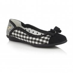 Lizzie Black Check Flat Ballerina Style Shoe