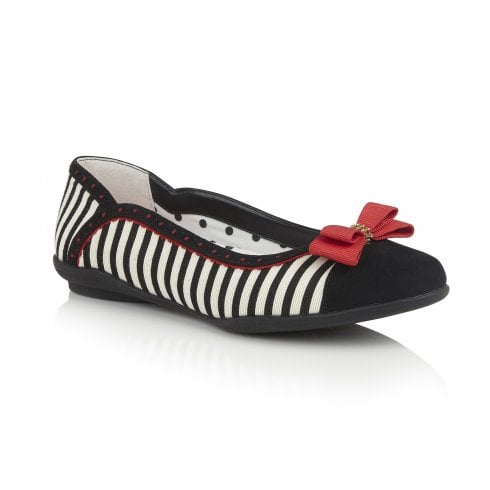 Ruby Shoo Lizzie Black/Red Striped Flat Ballerina Style Shoe