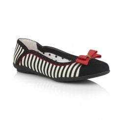 Lizzie Black/Red Striped Flat Ballerina Style Shoe