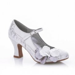 Madelaine White and Silver Mary Jane Style Shoe
