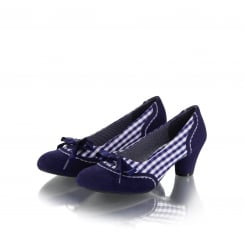 Ophelia Blue Checked Heeled Court Shoe