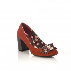Pandora Russet Heeled Slip-on Court Shoe