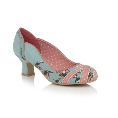 Ruby Shoo Paula Mint/Pink Heeled Court Shoe