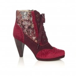 Peri Bordeaux Lace Up Heeled Ankle Boot