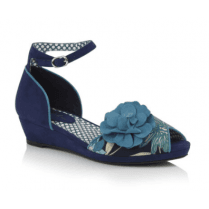 Phyllis Blue Floral Heeled Wedge