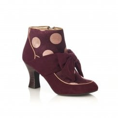 Seren Burgundy Bow Trimmed Heeled Ankle Boot