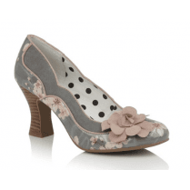 Viola Sage Floral Heeled Court Shoe