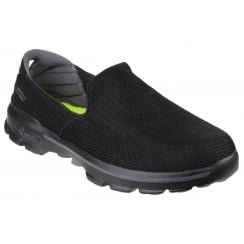 Black flat slip on trainer style shoe
