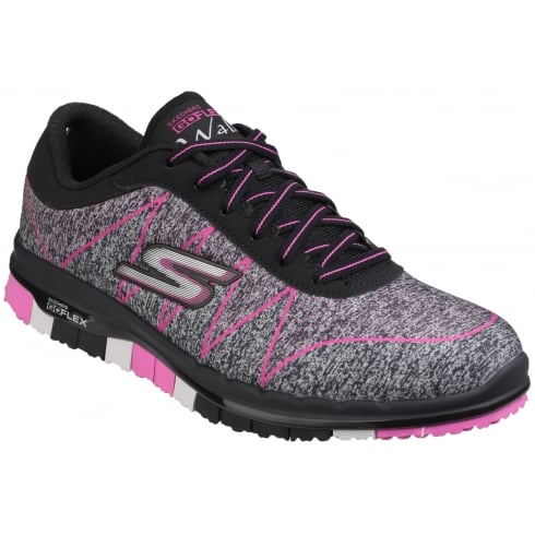 Skechers Black/Pink Go Flex - Ability lace up sports trainer