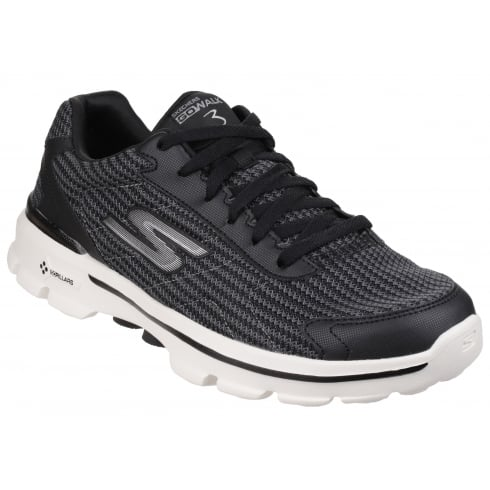 Black/White Go Walk 3 Fit Knit Lace Up Trainer