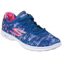 Blue/Pink Go Step Flat Lace Up Trainer