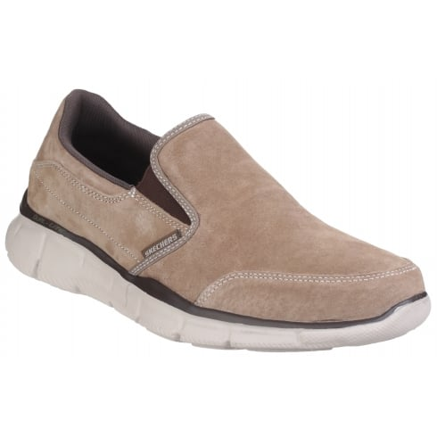Skechers Brown/Beige Leather Equaliser Mind Game Slip On Shoe