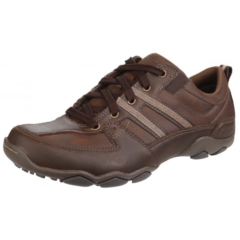 Skechers Brown leather Diameter Selent flat lace up trainer style shoe
